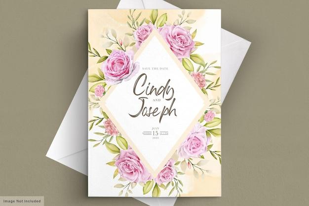 수채화 핑크 장미 초대 카드 세트