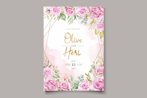 Watercolor pink roses invitation card set