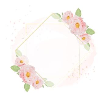수채화 배경 복사 공간에 황금 화 환 프레임 수채화 핑크 장미