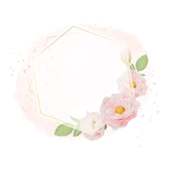 Watercolor pink roses with golden wreath frame on watercolor background with copy space