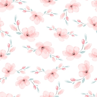 Watercolor pink sakura or cherry blossom flower blooming seamless pattern