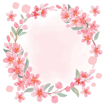 Watercolor pink sakura cherry blossom vintage square frame template