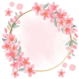 Watercolor pink sakura gold frame template