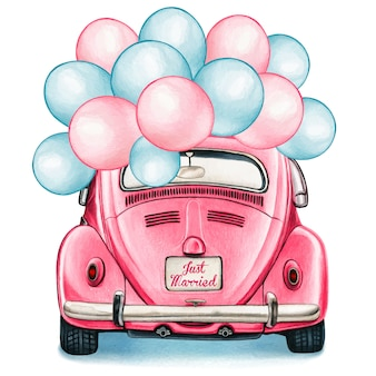 Watercolor pink shiny vintage car with balloons celebration