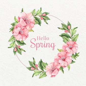 Watercolor pink spring blooming floral frame