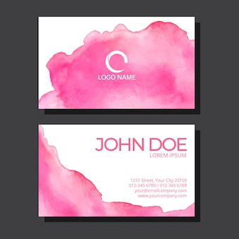 Watercolor pink stain business card template