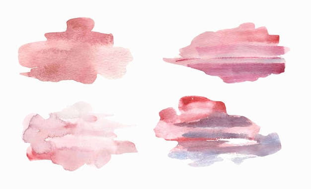 Watercolor pink textured splashes .