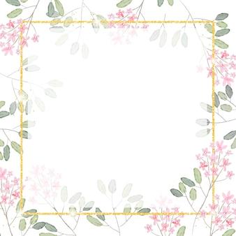 배너에 대 한 황금 반짝이 사각형 프레임 배경으로 수채화 핑크 작은 꽃 지점