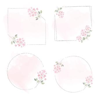 ピンクのスプラッシュコレクションの水彩ピンクの小さな花の花輪フレーム