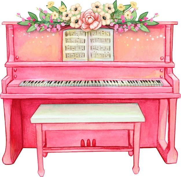 Акварель розовое пианино с цветами