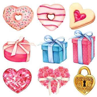 水彩ピンクのバレンタインデーの装飾コレクション