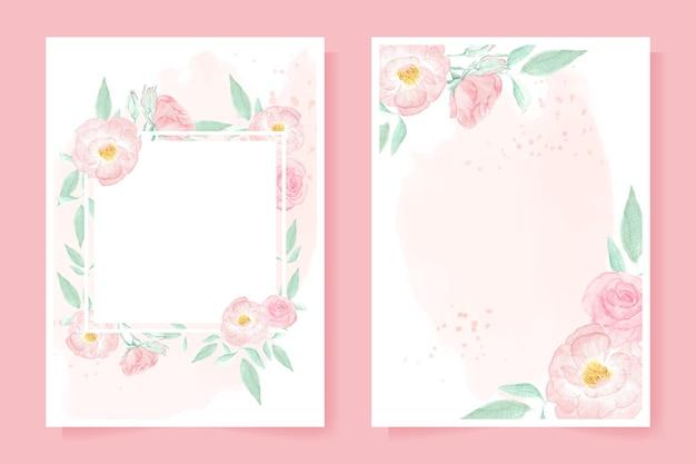청첩장에 대 한 시작 배경에 수채화 핑크 와일드 로즈