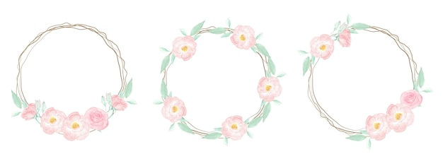 Watercolor pink wild rose with dry twig frame wreath on pink splash background