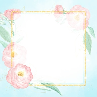 青いスプラッシュ背景に金色のフレームと水彩ピンクのワイルドローズ