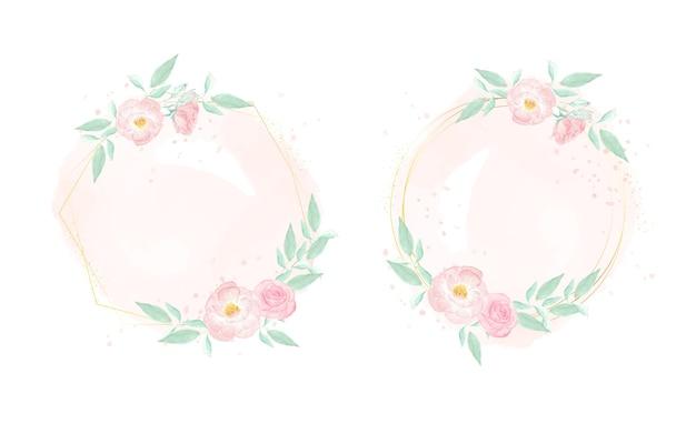 스플래시 배경 컬렉션에 골든 프레임 화 환으로 수채화 핑크 와일드 로즈