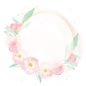 Watercolor pink wild rose with golden frame wreath on pink splash background