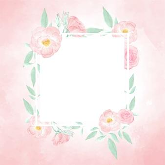 Watercolor pink wild rose wreath frame  on pink splash background