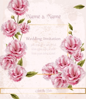Watercolor pink wild roses card