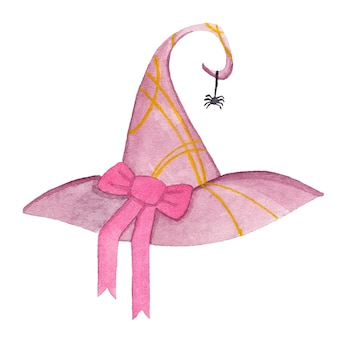 Watercolor pink witch hat with bow and spider halloween