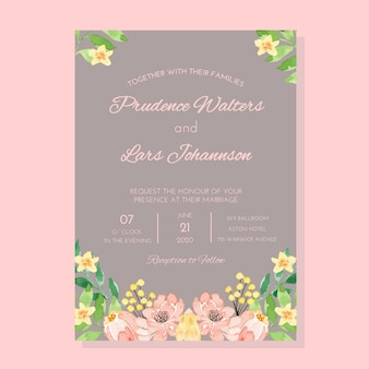 Watercolor pinkand grey vintage classic frame wedding invitation template