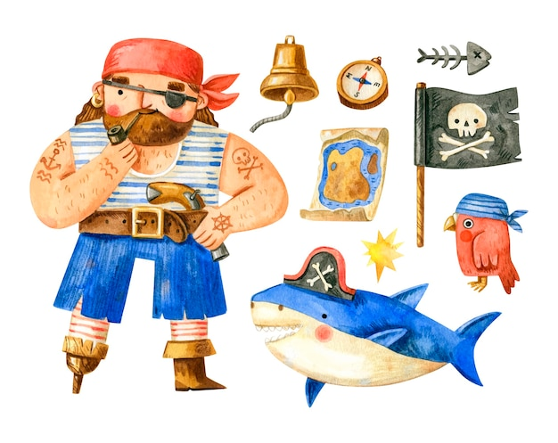 Watercolor pirate collection with pirate, shark, parrot, flag, compass, bell