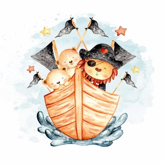 Watercolor pirate lion with its cubs