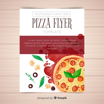 Watercolor pizza flyer template