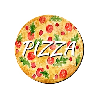 水彩ピザは作品を隔離しました。手塗りのベクトル図。ウォーターカラーは、ステッカー、アバター、ロゴ、またはアイコンに使用できます。