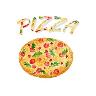 水彩ピザを隔離しました。手塗りのベクトルアートワーク。ウォーターカラーは、ステッカー、アバター、ロゴ、またはアイコンに使用できます。