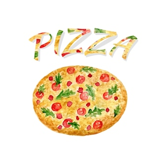 Watercolor pizza isolated. hand paint vector artwork. watercolor can be used for sticker, avatar, logo or icon.