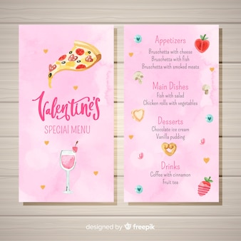 Watercolor pizza valentine menu template