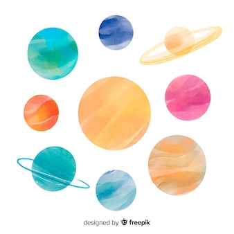 Watercolor planet collection on white surface