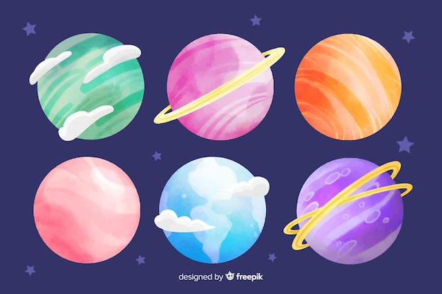 Watercolor planet collection with gas and rings