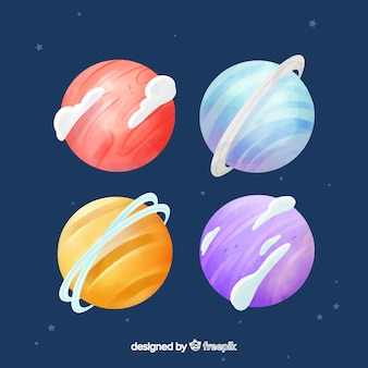 Watercolor planet collection with a starry background