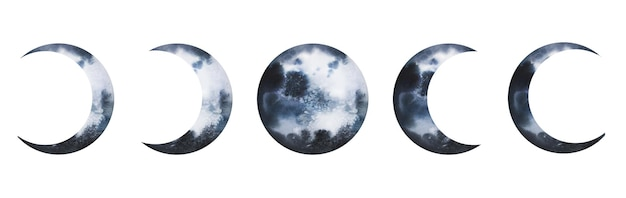 수채화 행성 달 일식 단계 벡터 세트