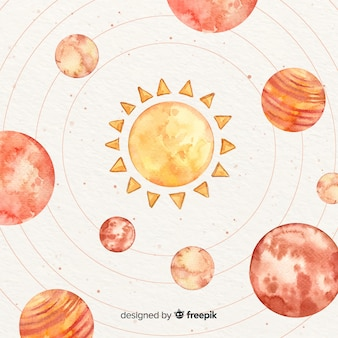 Watercolor planets orbiting around the sun