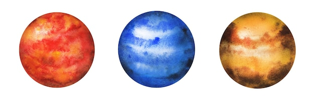 Watercolor planets set of a milky way space objects