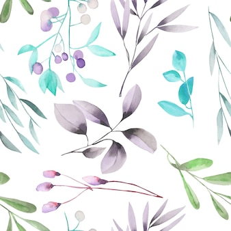 Watercolor plants and branches seamless pattern