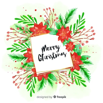 Watercolor plants christmas background
