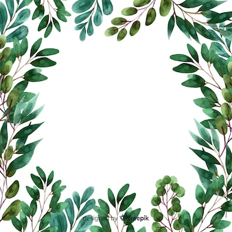 Watercolor plants and leaves frame