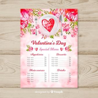 Watercolor plate valentine menu template