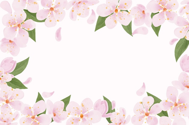 Watercolor plum blossom background copy space