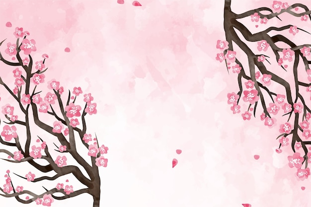Watercolor plum blossom background