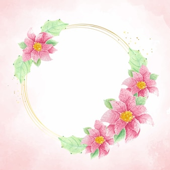 Watercolor poinsettia christmas flower wreath frame on pink splash background with copy space