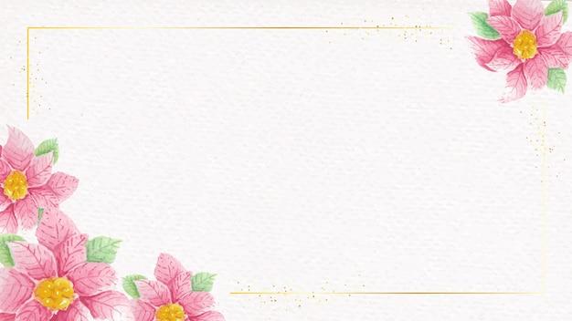 コピースペースと紙のテクスチャ背景に金色のフレームと水彩ポインセチアの花