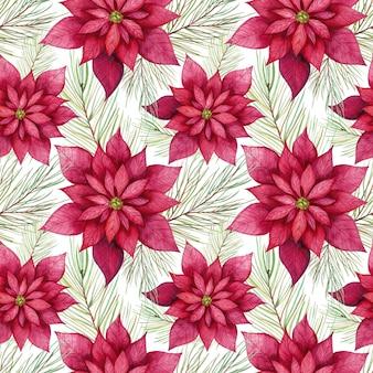 水彩ポインセチアの花のシームレスなパターン