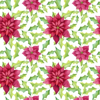 Watercolor poinsettia flowers seamless pattern