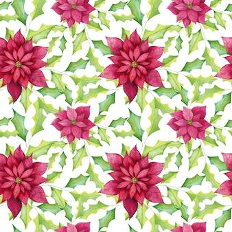 Акварель пуансеттия цветы бесшовный фон
