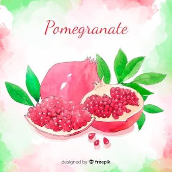 Watercolor pomegranate background