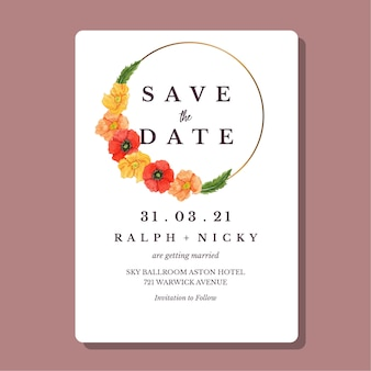Watercolor poppies flower gold round border wedding invitation card template